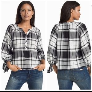 WHBM black and white plaid blouse
